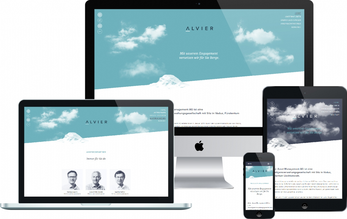 Alvier Asset Management AG - Responsive Website, CMS